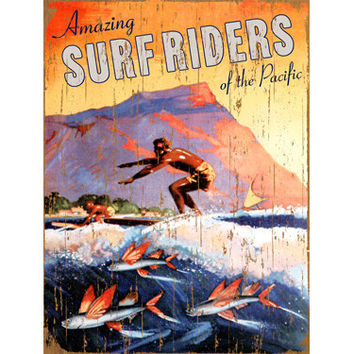 Personalized Surf Riders Wood Sign