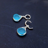 Aqua Blue  Earrings ,Sea Glass  Shell Dangles Minimalist Jewelry Wire Wrapped by Lyrisgems