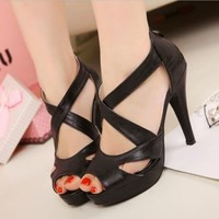 New Women's High Heels Platform X Strappy Back Zip Shoes Sandals Party Fashion