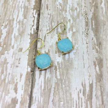 Turquoise Opal Crystal Square Drop Dangle Earrings
