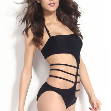 Black Strappy Cutout Swimwear with Adjustable Halterneck