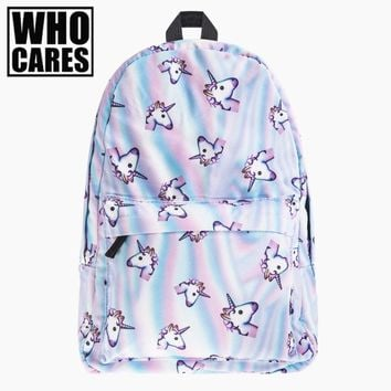 holo unicorn 3D Printing backpack women bag mochila top quality bookbag school bags for teenage girls sac a dos canvas backpacks