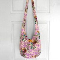 Cross Body Bag Hobo Bag Hippie Purse Sling Bag Boho Bag Slouch Bag Hobo Purse Hippie Bag Flowers Hobo Bag Floral Handmade Bag Bohemian Purse