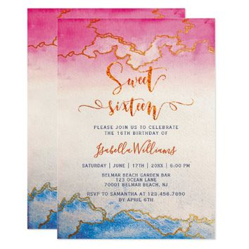 Modern Chic Gold Marble Sweet 16 Birthday Party Card