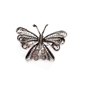 Art Deco Silver Filigree Butterfly Pin / Brooch