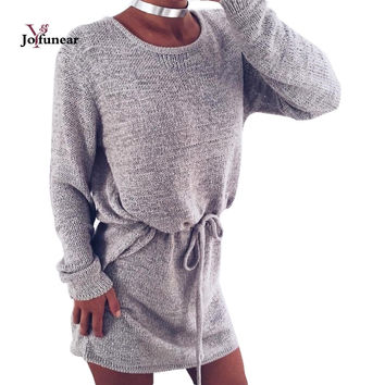 autumn new Sexy Open Back Loose Long Sweaters  Pullovers 2016 O-neck Drawstring Backless Sweaters