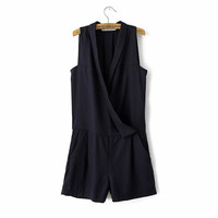 Black V-neck Sleeveless Romper
