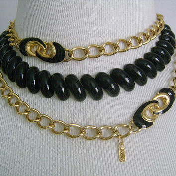 NAPIER & MONET Gold Tone Link Chain With Black Enamel Endless Continuous Chain Necklace Metal Enameled Choker Necklace Mix and Match Styling