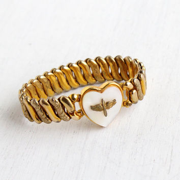Vintage Military Heart Expansion Bracelet - 1940s Gold Filled Faux Mother of Pearl Stretch Sweetheart Jewelry