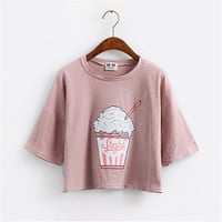 Merry Pretty 2017 summer new Harajuku women t shirt ice cream Korean style cotton loose crop tops kawaii t-shirt female tee tops