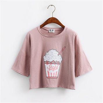 women ice cream style cotton loose crop  T Shirt