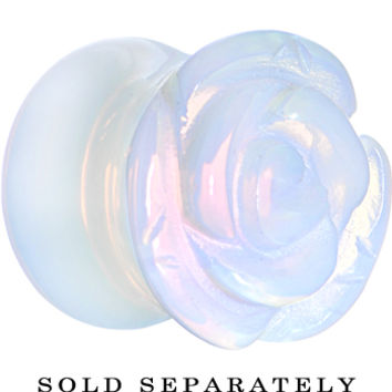 00 Gauge Opalite Natural Stone Rose Double Flare Saddle Plug | Body Candy Body Jewelry