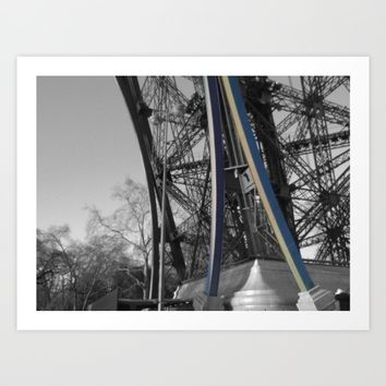 Eiffel tower detail Paris black and white with color splash Art Print by Mr Splash