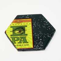 Ceramic Hexagon Beer Label Coaster | Milwaukee Lakefront Brewery IPA | Upcycle Ceramic Tile Coaster | Craft Beer Geek Gift | Single Coaster