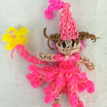 Pinkalicious With Wand Rainbow Loom Handmade Rubber Band Party Favors
