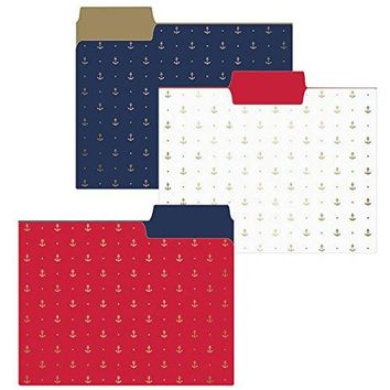 Gold Anchors File Folder Set in Blue, White and Red