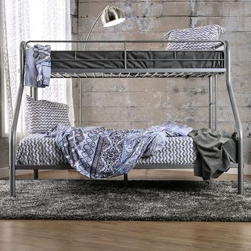 Rainbow collection contemporary style silver finish metal frame twin xl over queen bunk bed set
