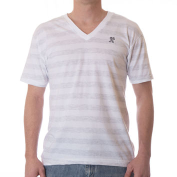 READY V-NECK - Ash White Stripe