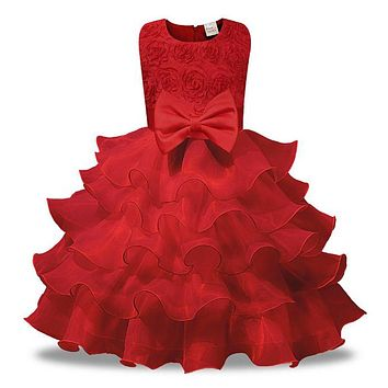 Cute baby girl sleeveless dress for Birthday Party Wedding costume kid girl clothes floral appliques tutu dress with bow knot red