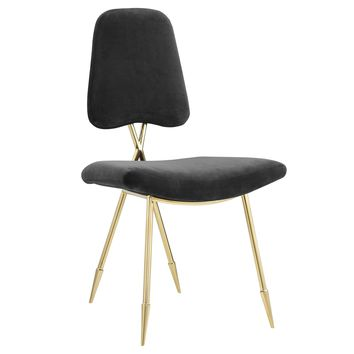 Ponder Upholstered Velvet Dining Side Chair Gold Frame