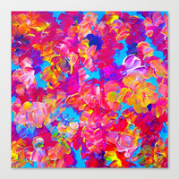 FLORAL FANTASY Bold Abstract Flowers Acrylic Textural Painting Neon Pink Turquoise Feminine Art Stretched Canvas by EbiEmporium