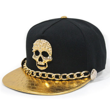New West Unisex Punk Leather Snapback Hat With Gold Chain Rivet Buttons Skull Hip-Hop Baseball Cap Flat-Brimmed Hat 6 Color