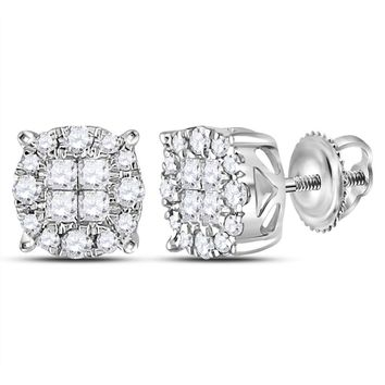 14kt White Gold Women's Princess Round Diamond Soleil Cluster Earrings 1/2 Cttw