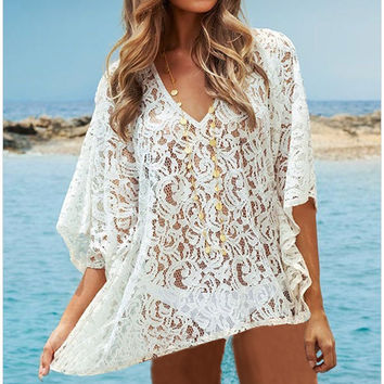 Stylish Batwing Sleeve Beach Sea Blouse [6050349249]