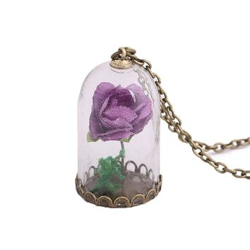Rose Pendant Necklace Luminous Glass Vial Retro Crystal  Christmas Gifts