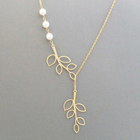 Sideways, Double, Tree, Branch, Lariat, Triple, White, Pearl, Gold, Silver, Necklace, Beautiful, Modern, Tree, Necklace, Gift, Jewelry