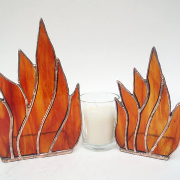 stained glass candle holders set art glass fire by Nostalgianmore