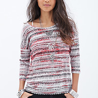 FOREVER 21 Tribal Print Dolman Top Cream/Red