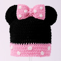 Baby Girl Beanie - Minnie Mouse Hat with Pink Bow, Newborn Hats, Infant Hats, 0 - 12 months