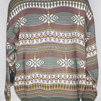 Vintage 80's 90's Cosby Sweater Grunge Oversize Unisex Crossings Hip Hop Carlton Style Ugly Made in USA