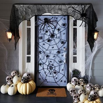 Black Spider Fireplace/Door Mantel Scarf Halloween Decorations