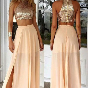 High Neck Sequin Beaded Prom Dresses