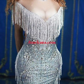 All for you diamante 3D Cleavage Tassel Dress(Spandex version)(Ready to Ship) (Rhinestones)