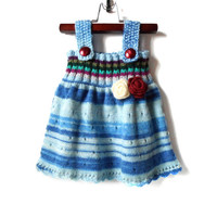 Knitted Girl Tunic Dress - Blue Multicolor, 9 - 12 months