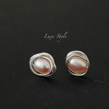 Peach Pearl Stud Ear Rings Sterling Silver Wire wrapped Metal Jewelry Handmade Eco Friendly Luxe Style