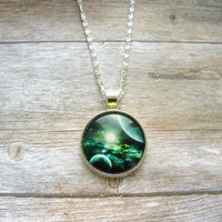 Space necklace, green necklace, green planet, unisex necklace, jewelry necklace, jewelry for wome, silver plate, bronze  necklace