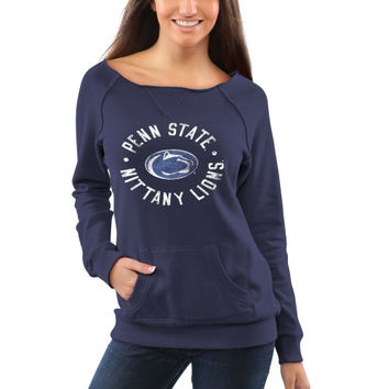 Penn State Nittany Lions Women's Roundhouse Too Junior Vintage Boatneck Sweatshirt - Navy Blue