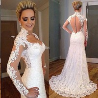 Aliexpress.com : Buy Vestido De Noiva 2015 Lace Long Sleeve High Neck Mermaid Wedding Dress 2016 Sexy Sheer Appliques High Quality Wedding Gowns from Reliable gown evening dress suppliers on WAN YU | Alibaba Group