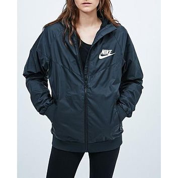 nike trending black hooded zipper cardigan sweatshirt jacket coat windbreaker sportswear