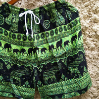 Unisex Shorts Elephant Print fabric Boho Beach Summer Hippie Hipster Clothing Aztec Ethnic Bohemian Ikat Festival Men Women Fashion in Green
