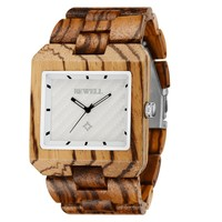 Bewell Handcrafted Mens Wooden Wrist Watch Made From Natural Zebrawood White