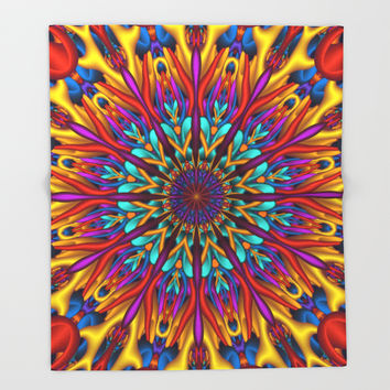 Amazing colors 3D mandala Throw Blanket by Natalia Bykova | Society6