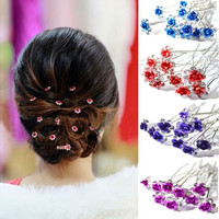 10pcs/lot Rose Flower Crystal Rhinestone Wedding Party Bridal Prom Hair Pin Hair Clips Accessory [7982883399]