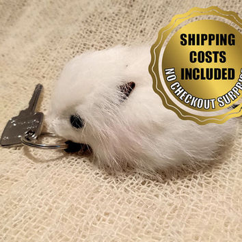 2 Pieces Keychain / Mouse Ornament -100% Naturel Genuine Rabbit Fur