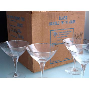 4 Tiffin Rivirea platinum Hand cut glass desserts never used, in shipping box