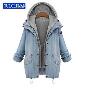 Women Hooded Jacket Coat Jeans Denim Winter Drawstring Trends Patch Pocket 2 Piece Outerwear Long Sleeve Buttons Hoodie Jaqueta